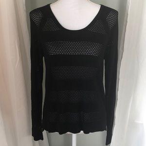 Rag & Bone/Jean Black Crewneck Striped Sweater Med